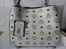 MCM Authentic Women Corina Visetos Small Shoulder Bag White and Navy Color