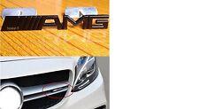 NEW BLACK AMG FRONT GRILL BADGE EMBLEM METAL C E S CL SL ML CLK CLS SLK CLASS