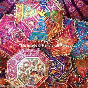 Indian Designer Umbrella Vintage Colorful Hand Embroidered Parasol 24'' 5 Pcs