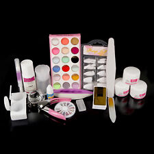 Pro Full Acrylic Liquid Powder Nail Art Tips Clipper File Tools Kit Set
