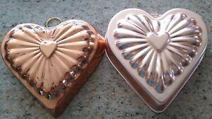 Pair of Vintage Copper Heart Jello  Food Mold Heart Shape Ornate Design  Hanger
