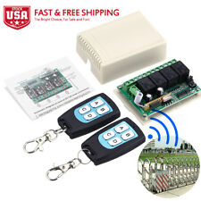 2 Transmitter + 12V 4CH Channel Relay RF Wireless Remote Control Switch Receiver