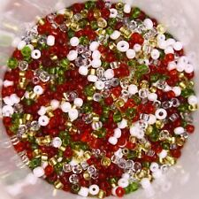 25g 2mm Glass Seed Beads – Christmas Holiday Mix