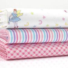3 FQ PACCHETTO Faries Fata a Righe & Controllo Bianco & Rosa Tessuto di Cotone 100% #3 Ragazze