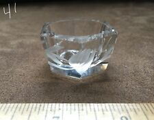 CLEAR GLASS HEXAGONAL ETCHED FACETED ROUND CENTER OPEN SALT CELLAR, DISH, DIP