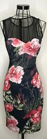 Stunning KAREN MILLEN Black Red Floral Bodycon Wiggle Dress UK 10 Wedding Races