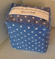 NEW BLUE WHITE SPOTTY FABRIC DOOR STOP  ..A GIFT FOR WILLIAM ..UNFILLED