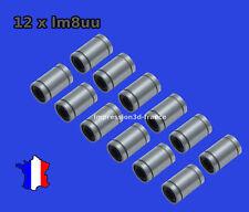 12x Roulement lineaires 8mm LM8UU 12 pièce, imprimante 3D, Prusa i3, reprap
