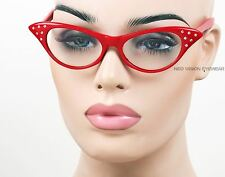Rhinestone Cat Eye Womens Pinup Vintage Style Clear Glasses Cherry RED RSC