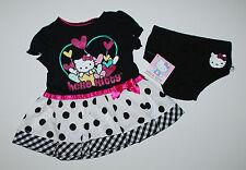 USA~Kleid~HELLO KITTY~50-56~Sommerkleid~Katze~Babykleid~Blumen~Kleidchen~schwarz