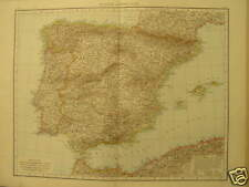Antique Large map Spain Portugal España andrees 1887