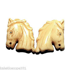 CARVED BONE HORSE HEAD BEAD SMALL 21X24MM 2 BEADS B2