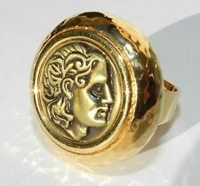 Vtg Antique Coin Ring Alexander The Great of Macedon Greece Gold 24K Plated Rep
