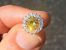 4 ct tw Canary Halo Earrings Russian Quality CZ Imitation Moissanite .925 Silver