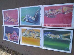 lot of 6 Beautiful nude female Oil  Deborah Argyropoulos Wall art prints on pap