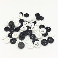 lot de 50 bouton scrapbooking 4 trou blanc noir mercerie couture 9 mm couture
