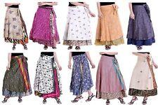 Wholesale Lot 10 Pc Indian Silk Sari Print Reversible Wrap Skirt Women Wrap