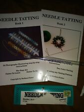 Needle Tatting Book 1&2 by Barbara Foster Plus Size 5-0 Tatting Needle-EUC