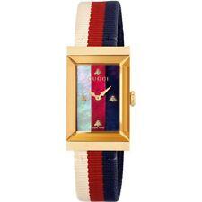 New Gucci G-Frame Gold-Tone Fabric Strap Ladies Watch YA147405