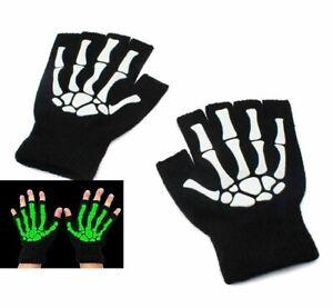 New Skeleton Fingerless Gloves Skull Black White one size Glow In Dark WARMER