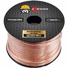 eXtreme Speaker Wire 14AWG 14 Gauge 2-Conductor Stranded Cable (50 Feet, Clear)