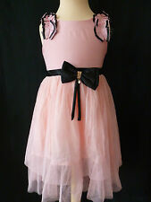 Girls Pink Party Dress With Black Ribbon Bow Age 4 - 5 Years UK NEW