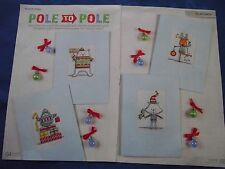 POLAR PALS AND KITTY CAT IN THEIR CHRISTMAS JUMPERS 4 CARDS CROSS STITCH CHART