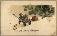 Christmas Toys & Tree c1910 Postcard rpx