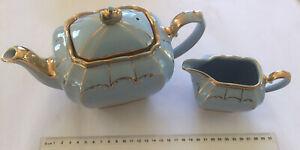 VINTAGE ESTATE 2 PIECE SADLER ENGLAND CUBE EGG SHELL BLUE GOLD TEA SET # 1922 ET