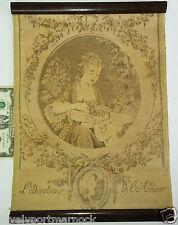 Antique Cloth Tapestry L'Education de l'amour Lady With Angel cherub Love School