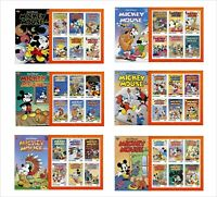 2020 DISNEY  MICKEY MOUSE AND FRIENDS 6 SOUVENIR SHEETS UNPERFORATED COMICS