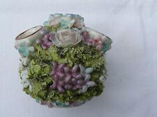 Antique Hard Paste Porcelain encrusted floral bud/posy pot c1900s 6cm tall