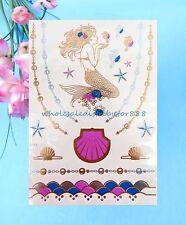 wholesale body seashell star fish mermaid metallic gold flash temporary tattoo