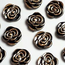 20pcs Black Gold Rose Buttons Plastic Round Sewing 13mm Crafts B50168