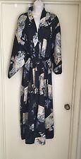 Ichibahn Vintage 80s 90s Bohemian boho Japanese Black Floral  satin Kimono robe