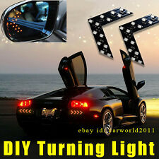 2x Amber Yellow Arrow Led Rearview Side Mirror Turn Signal Indicator Light c8