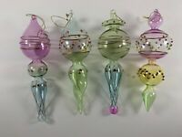 4 Hand Blown Glass Christmas Ornaments Clear Multi-Colored