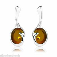 925 Sterling Silver Oval Amber Cabachon Stud Earrings