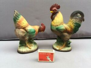 Vintage Ceramic ROOSTER And HEN Figurine, 1960's Japan, Lovely-Chicken, Ornament