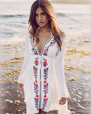 Women Summer Lace Up Long Sleeve Embroidery Beach Boho Blouse Kimono Mini Dress