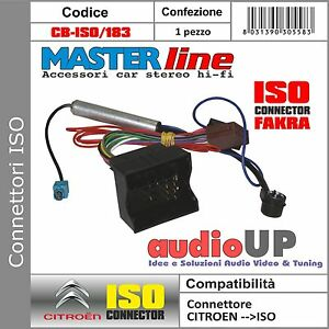 CONNETTORE ISO AUTORADIO ORIGINALE ANTENNA ISO CITROEN C3 DAL 2004 IN POI