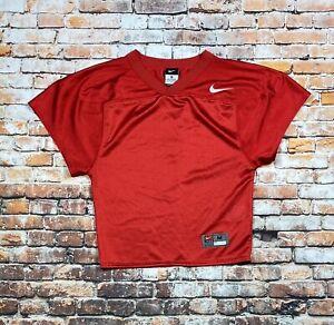 (10444) Youth Nike Red M Short Sleeve V-neck Plain Team Jersey Football