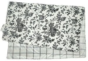 Lila & Jack Baby Girl Black And White Floral Blanket Lovey Gray Plaid Squares LN