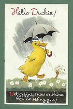 "SWEET 1947 TAYLOR PC - DUCKLING WITH UMBRELLA - ""HELLO DUCKIE"""