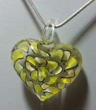 Murano Glass Yellow Heart Pendant on 925 Sterling Silver Necklace #Valentine