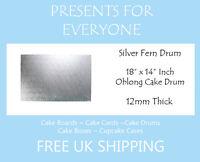 "18"" x 14"" Inch Oblong Rectangular Wedding Birthday Cake Drum / Board 12mm"