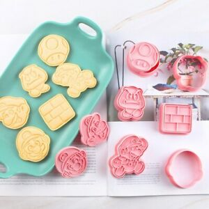 Super Mario Bros Cookie Cutter Baking Stencil Mould Set of 6 luigi cake topper