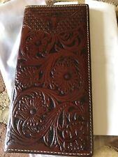 QUALITY! Genuine Leather Men's long Wallet Vintage Floral Tooling Western cowboy