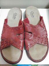 CLARKS BENDABLES RED LEATHER SANDALS SLIDE ON SHOES SIZE 8M