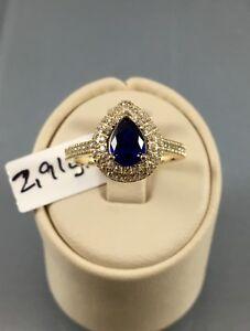 NEUHEIT Gr.54 Damenring Goldring 585 Gold Echtgold Blau Stein